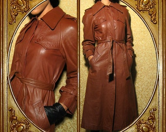 70s brown leather spy trench coat. XS