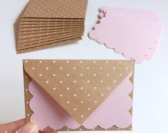 Polka Dot Kraft Envelopes + Pink Scalloped Cards • Pink and Kraft Swiss Dot Vintage Girl Cards & Envelopes Thank you cards (41-00221)