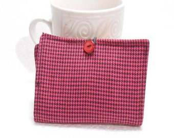 Tea Wallet, Tea Bag Holder, Small Wallet, Business Card Holder - Pink Houndstooth Print Print READY MADE