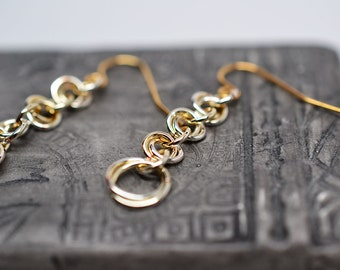 Gold plated copper graduated rose chain dangle style chainmaille earrings