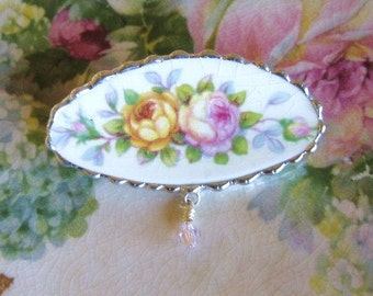 Vintage Recycled Broken China Sweet Pink and Yellow Roses Brooch Pin