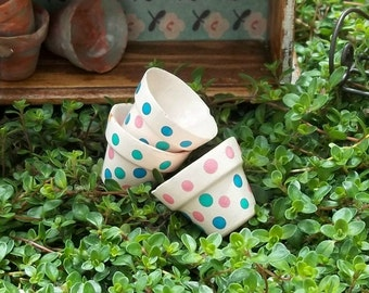 Set of 3 Hand Painted Polka Dots Spots Terracotta Clay Flower Plant Pots or Planters Miniature Doll House and Fairy Garden