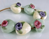 Ivory Green Lampwork Heart Beads with Pink Purple Roses