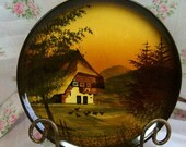 Handpainted Plate - Made in Germany - Chaley type Home with Outdoor Scene