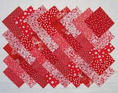 RED PRINTS 100% cotton prewashed 4 inch Quilt Block Fabric Squares (#A3C)