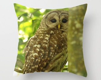 Barred Owl Pillow Cover Nature Ornithology Sweet Things Woodland Forest Print Brown Green Nature Pillow