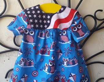 Fourth of July Blue Patriotic Owls Nautical Sailor Toddler Romper Sz 1