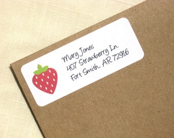 Strawberry Address Labels - 90 Labels - Return Address Labels - Personalized