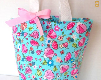 Lady Bugs and FlowersTote/Gift Bag/Easter Basket