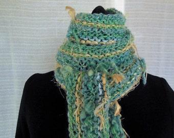 Fringy Seafoam Blue Wool and Silk Scarf