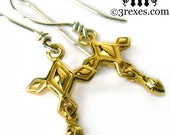 Gold Cross Earrings Tiny Renaissance Charms