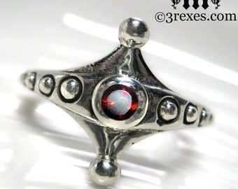 Imp Silver Fairy Tale Ring Gothic Garnet Size 5