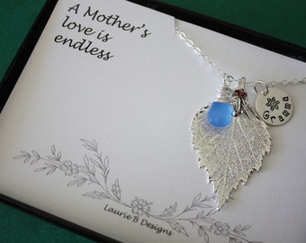 Real Leaf Necklace Personalized Mom or Grandma Gemstone Sterling Silver Charm, Mother Necklace, Monogram Necklace