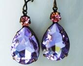 SUMMER SALE!!! Lavender and Light Pink Stone, Jewel Dangle Rhinestone Earrings