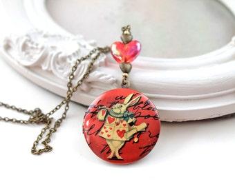 White Rabbit Alice in Wonderland locket necklace red heart kawaii lolita