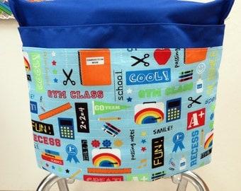 1 SMALL Chair Pocket Seat Desk Sack School Supplies Fabric 2 POCKETS Get Organized