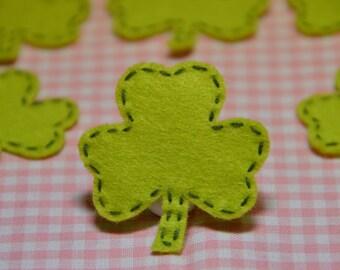 Set of 6pcs handmade felt Shamrocks--light green (FT886)
