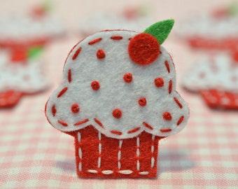 Felt Christmas cupcake, Set of 6pcs handmade felt cupcake--red (FT834)