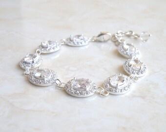 Bridal Bracelet Oval CZ Silver Halo CNB10