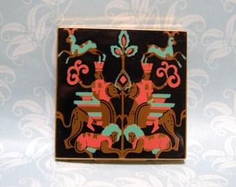 Vintage Enamel Compact Henriette 1930s 40s Abstract Unusual