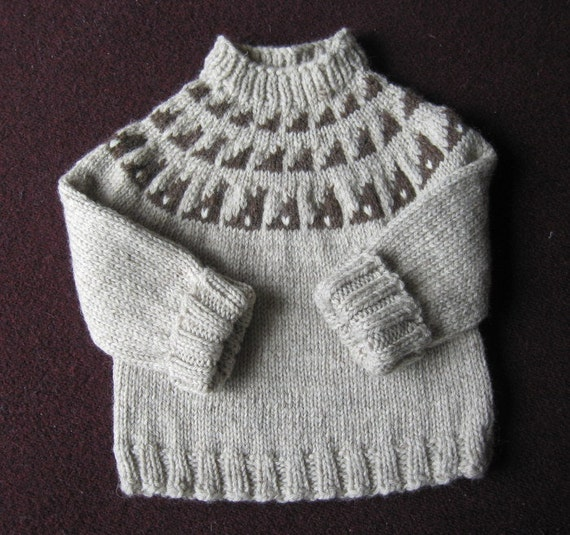 Children's Pullover Sweater Gray and Brown Wool
