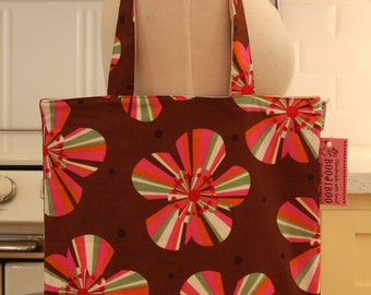 Book Bag Tote Purse - Pink Stripe Flowers on Brown