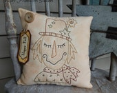 Primitive Hand Stitched Fall Pillow, Scarecrow, Happy Fall, HHCOFP