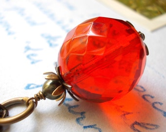 Pomegranate Necklace pomegranate pendant handmade jewelry red glass bead bronze brass charm orange red jewellery for women mother's day gift