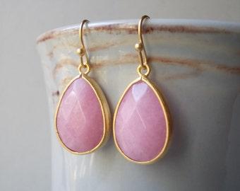 Rose quartz earrings gold plated, pink quartz stone, gold framed faceted elegant fancy dangle drop earrings for women, gift for girl