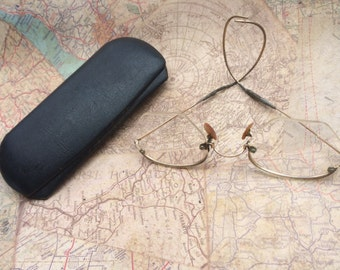 Vintage Antique Hex Shaped Eyeglasses/Spectacles with Loop Earpieces