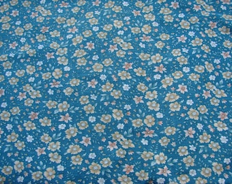 2 Yards of Vintage Green Cotton Fabric with Tan/Yellow Flowers
