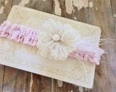 Pink Seersucker and Ivory Lace Garter