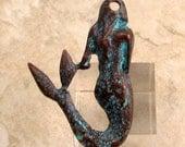 Mermaid Pendant, Green Patina, Greek Casting, 45x30 MM, M294