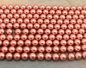 Rose Gold Pearl, Swarovski Elements, 6 MM Round, 25 pieces, RG18