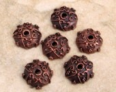 Mykonos Bronze Patina Bead Cap, 10 MM, 6 Pieces, M310