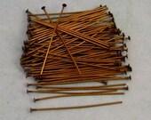 1.5 Inch Head Pins, Antique Brass, Brass Ox, 100 pieces, AB84
