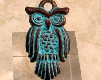 Greek Owl Pendant, Green Patina,  2 Pc. M280