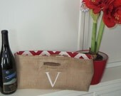 Not Your Usual Wine tote Personalized Burlap with Chevron fabric zig zag