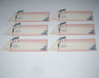 Vintage Grey Tabby Cat Place Cards by Gibson Set of 6