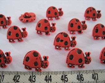25pcs of Red Ladybug Button