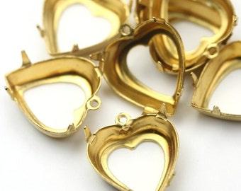 Prong Settings Heart Raw Brass 15mm Open Back 1 Loop (6) FI681