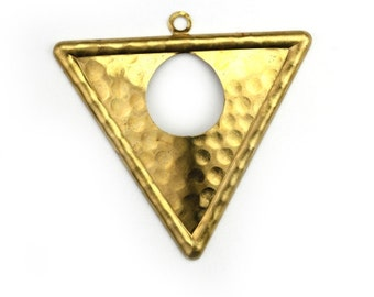 Triangle Open Circle Hammered Large Charm Pendant Raw Brass (2) CP251