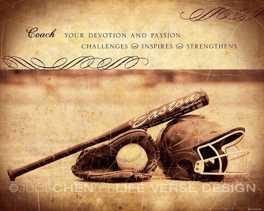 Personalized SOFTBALL COACH Gift Softball Art Coach