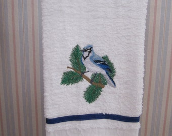 Blue Jay Embroidered on White Terrycloth Towel