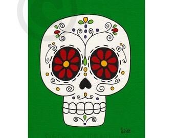 Day of the Dead Red Daisies Flower Eyes Skull Original PRINT 8x10 green sugar skull