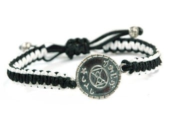 Unisex Sterling Silver Love Charm Bracelet and Signature MIZZE Button on Black & White Parachute Chord