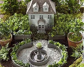Miniature Garden Formal English Garden Planter Set Kit or Fountain