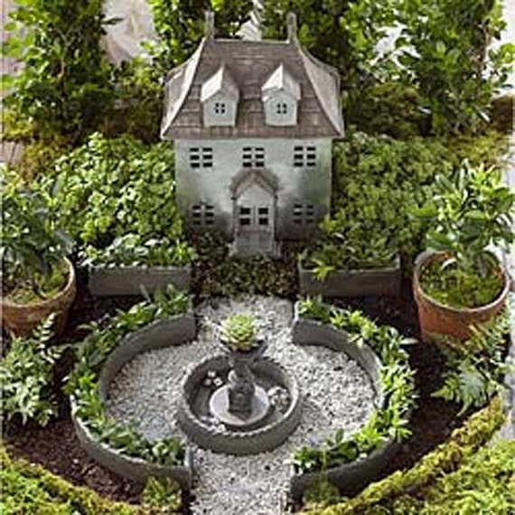 miniature garden formal english garden planter set kit or. Black Bedroom Furniture Sets. Home Design Ideas