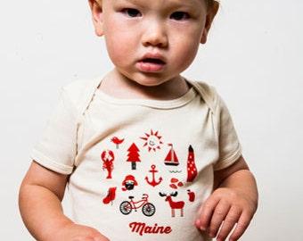 Organic Iconic Maine Baby Onesie