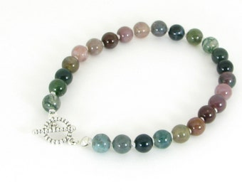 Handknotted Indian Agate and Sterling Silver Bracelet